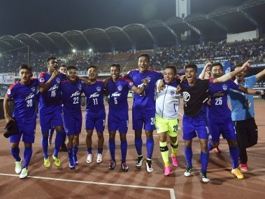 Bengaluru FC's players celebrate after winning the second leg of their AFC Cup semi-final. AFP
