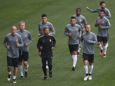 Monaco's players during a training session ahead of CSKA Moscow clash. AFP