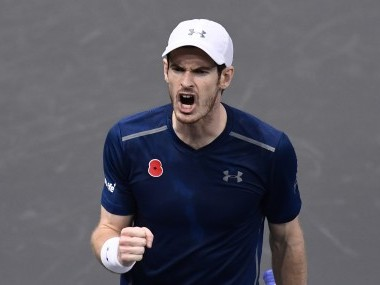 Andy Murray reacts after winning against Lucas Pouille at the Paris Masters. AFP