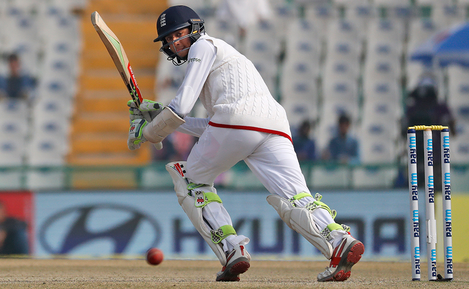 England's Haseeb Hameed plays a shot on the fourth day of the third cricket test match against India in Mohali, India, Tuesday, Nov. 29, 2016. (AP Photo/Altaf Qadri)