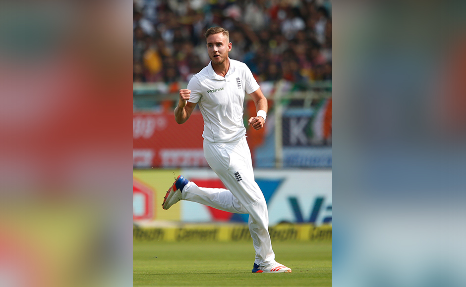 England's Stuart Broad celebrates the dismissal of India's Lokesh Rahul on the first day of their second cricket test match between India and England in Visakhapatnam, India, Thursday, Nov. 17, 2016. (AP Photo/Aijaz Rahi)