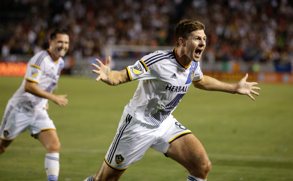 """In this Friday, July 17, 2015 file photo, Los Angeles Galaxy's Steven Gerrard celebrates his first goal for the team, during the first half of an MLS soccer match against the San Jose Earthquakes in Carson, Calif. Gerrard, the former Liverpool and England captain, announced his retirement from professional soccer on Thursday, Nov. 24, 2016 and said he is considering a """"number of options"""" about his next career move. (AP Photo/Jae C. Hong, File)"""