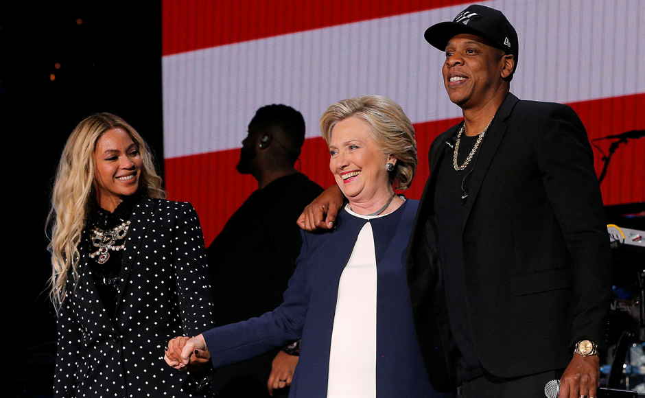 Hillary Clinton joins Jay Z and Beyonce onstage at a campaign concert in Cleveland, Ohio, November 4, 2016. REUTERS/Brian Snyder
