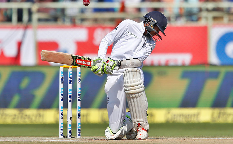 England's Haseeb Hameed bends to avoid a rising delivery on the fourth day of their second cricket test match against India in Visakhapatnam, India, Sunday, Nov. 20, 2016. (AP Photo/Aijaz Rahi)
