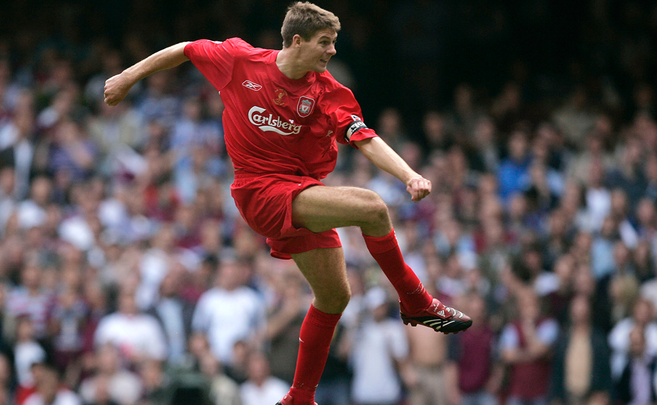 """In this Saturday, May 13, 2006 file photo, Liverpool's Steven Gerrard scores his sides 3rd goal against West Ham United during the FA Cup Final soccer match at the Millennium Stadium in Cardiff, Wales. Gerrard, the former Liverpool and England captain, announced his retirement from professional soccer on Thursday, Nov. 24, 2016 and said he is considering a """"number of options"""" about his next career move. (AP Photo/Matt Dunham, File)"""