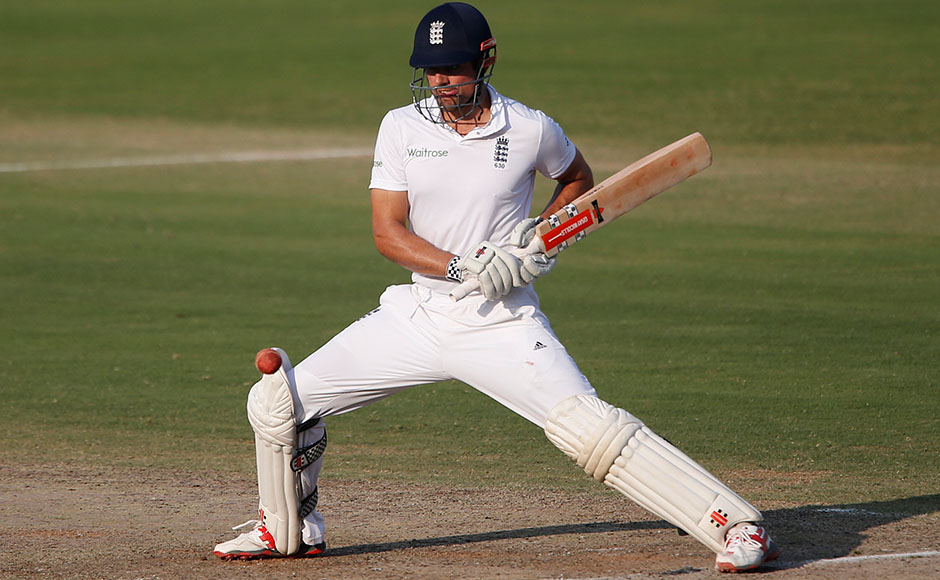 England's captain Alastair Cook bats on the fourth day of their second cricket test match against India in Visakhapatnam, India, Sunday, Nov. 20, 2016. (AP Photo/Aijaz Rahi)