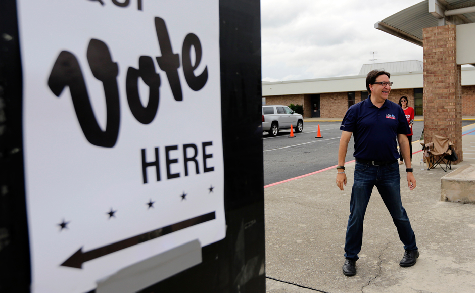 U.S. House of Representative democratic candidate Pete Gallego makes a stop at a polling site, Tuesday, Nov. 8, 2016, in San Antonio. (AP Photo/Eric Gay)