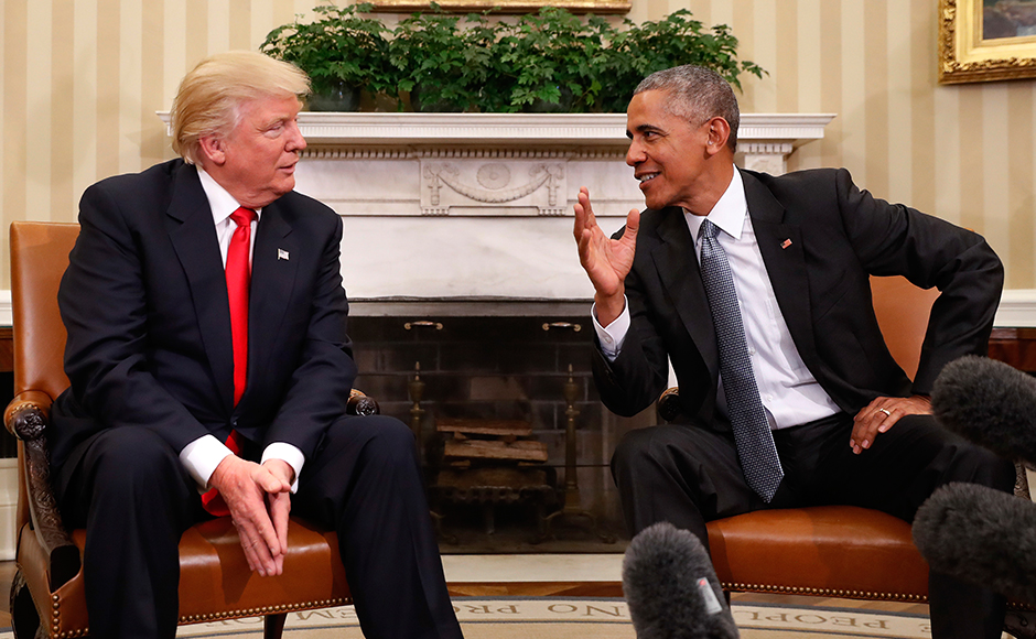 President Barack Obama meets with President-elect Donald Trump in the Oval Office of the White House in Washington, Thursday, Nov. 10, 2016. (AP Photo/Pablo Martinez Monsivais)