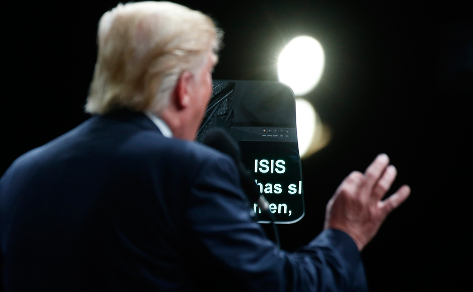 The word Isis is pictured on a teleprompter as Republican presidential nominee Donald Trump speaks at a campaign event in Selma, North Carolina, U.S. November 3, 2016. REUTERS/Carlo Allegri