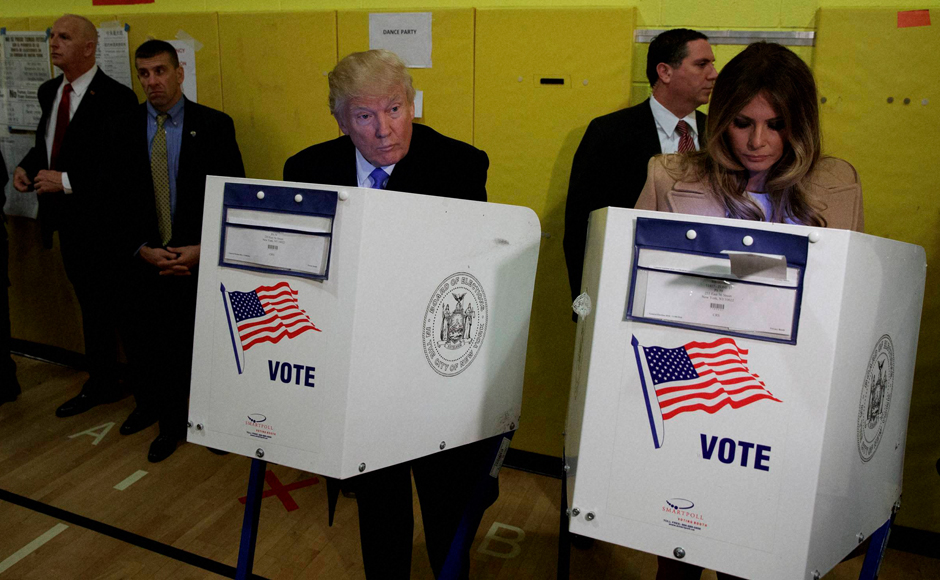 Republican presidential candidate Donald Trump, and his wife Melania, casts their ballots at PS-59, Tuesday, Nov. 8, 2016, in New York. AP/PTI(AP11_8_2016_000326B)