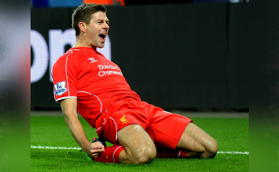 """In this Liverpool's Tuesday, Dec. 2, 2014 file photo, Steven Gerrard celebrates scoring against Leicester during the English Premier League soccer match between Leicester City and Liverpool at King Power Stadium, in Leicester, England. Gerrard, the former Liverpool and England captain, announced his retirement from professional soccer on Thursday, Nov. 24, 2016 and said he is considering a """"number of options"""" about his next career move. (AP Photo/Rui Vieira, File)"""