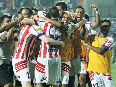 The ATK players celebrating. Image credit: Twitter/@atleticodekolkata