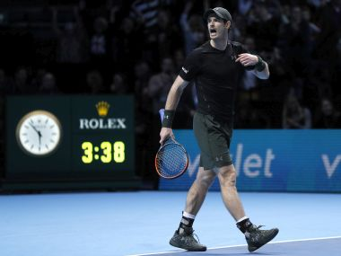 Andy Murray celebrates his hard-fought win. AP