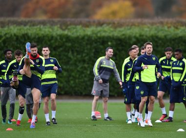 Arsenal's Olivier Giroud and Nacho Monreal attend a training session ahead of the Uefa Champions League match. AFP