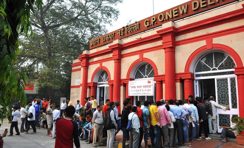 A major queue formed outside the Delhi GPO on Thursday. Naresh Sharma/ Firstpost