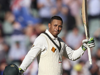 Australia's Usman Khawaja celebrates making 100 runs against South Africa. AP