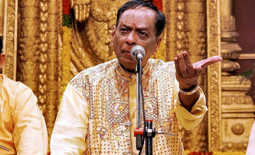 New Delhi: File photo of Veteran carnatic musician M. Balamuralikrishna who passed away in Chennai on Tuesday. Blamuralikrishna acted as Narada in Telugu movie ''Bhakta Prahalada''. He has rendered some unforgettable playback songs too. He was honoured with Padma Vibhushan in 1991. PTI Photo (PTI11_22_2016_000281B)