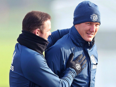 Bastian Schweinsteiger was all smiles as he rejoined the Manchester United first team for training. Image credit: Twitter/@BSchweinsteiger