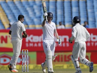 Ben Stokes celebrates on the 2nd day of the first Test between India and England. AP