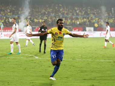 CK Vineeth scored a late brace to help Kerala Blasters to a 3-1 win over Chennaiyin FC. Image Courtesy: ISL