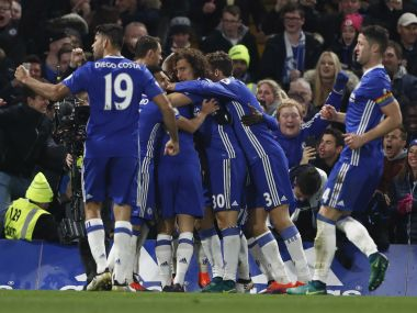 Chelsea celebrate their second goal. Reuters
