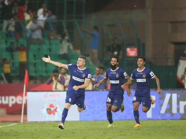 Chennaiyin FC players celebrate after their equaliser against Atletico de Kolkata. ISL