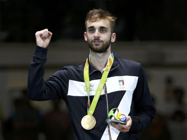 File photo of Daniele Garozzo celebrating winning the gold medal at Rio Olympics 2016. Reuters