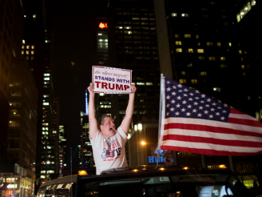 A Donald Trump supporter during the night of the Election result. Reuters