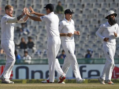 England's cricketers celebrate the dismissal of India's Ravichandran Ashwin. AP