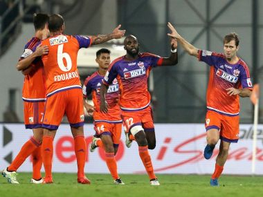FC Pune City players celebrating a goal in their 4-3 win over Delhi Dynamos. ISL