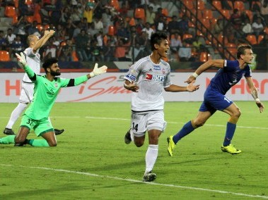 Eugeneson Lyngdoh of FC Pune City celebrates scoring against Mumbai City. ISL