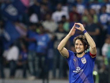 Diego Forlan celebrates after scoring his first hat-trick of the ISL 2016 campaign. ISL