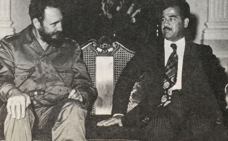 In this undated photo, Saddam Hussein poses with Fidel Castro. Castro was in power for over 44 years, making him the world's longest-serving head of state. (Photo: Getty Images)