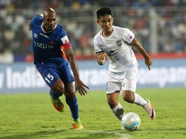 Sunil Chhetri of Mumbai City FC and Gregory Arnolin of FC Goa. ISL