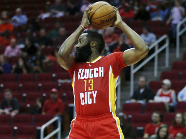 James Harden on his way to his triple double against Portland Trailblazers. AP