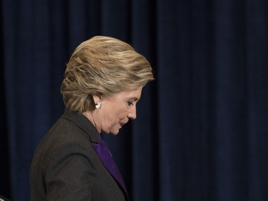 Democratic presidential candidate Hillary Clinton walks off the stage after giving her speech in New York. AP