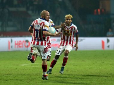 Iain Hume and Prabir Das of Atletico de Kolkata celebrate their equaliser. ISL