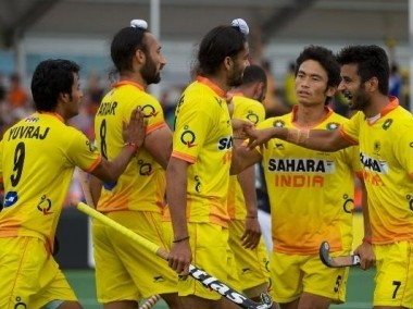 The Indian hockey team celebrate their win. Image courtesy: Twitter