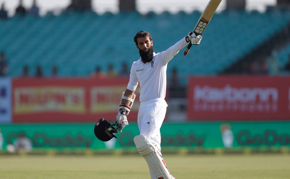 England's Moeen Ali acknowledges the cheers after scoring a hundred on Day 2 of the 1st Test at Rajkot. AP