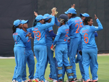 The India women's cricket team celebrates during their match against Pakistan. Image credit: Twitter/@BCCIdomestic