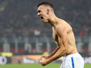 Ivan Perisic celebrates his late goal for Inter Milan. AP