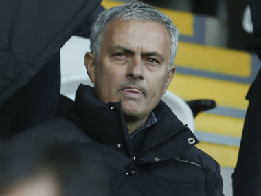 Jose Mourinho watched Manchester United's 3-1 win against Swansea from the stands. AFP