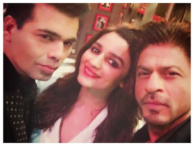 Karan, Alia, Shah Rukh on the sets of 'Koffee With Karan'. Image from Twitter