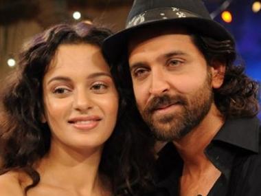 Kangana Ranaut with Hrithik Roshan. File photo
