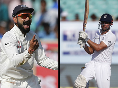 Virat Kohli and Alastair Cook. AP