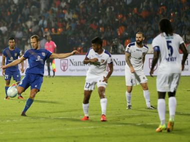 Krisztian Vadocz takes a shot to score a goal. ISL