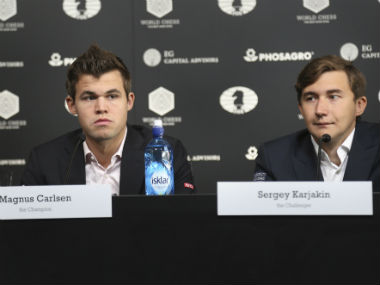 Magnus Carlsen and Sergey Karjakin at a promotional event ahead of their World Chess Championship clash. AP