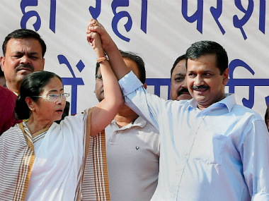 Bengal CM Mamata Banerjee and Delhi CM Arvind Kejriwal during the joint rally in Delhi on Thursday. PTI