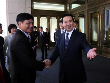 Meng Hongwei (R), has been appointed the new chief of Interpol, the first time a Chinese national has held the office. Reuters