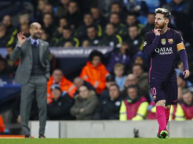 Manchester City manager Pep Guardiola and Barcelona's Lionel Messi. Reuters